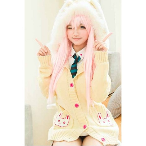 Super Sonico Embroider Lovely Bunny Sweater Cosplay Costume GC0094