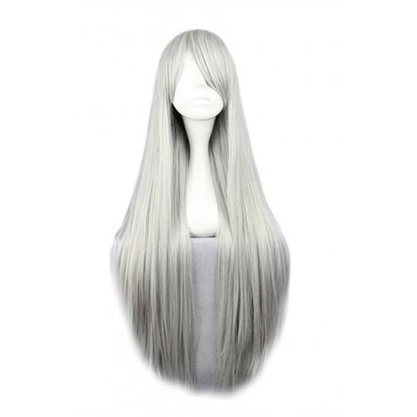 80cm Sliver White Straight Hitman Reborn Superbi Squalo Cosplay Wig AC001101