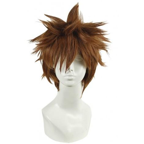 30cm Short Hitman Reborn Sawada Tsunayoshi Brown Cosplay Wig AC001092
