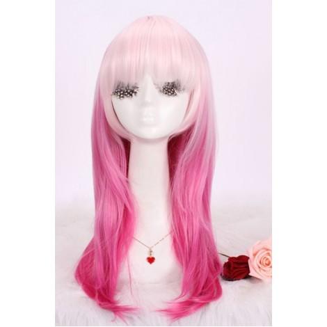 45cm medium pink+white NORIYUZURIHA Guilty Crown women hair cosplay wig AC001014